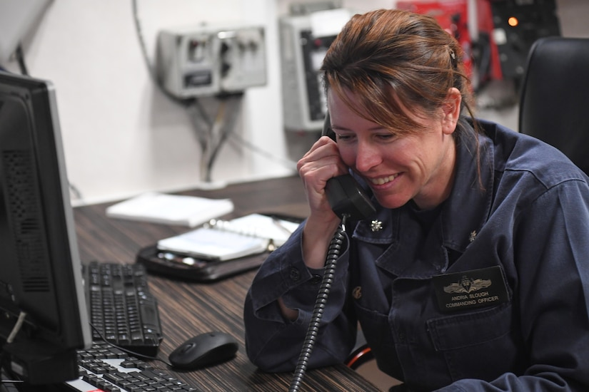 MEDITERRANEAN SEA (April 9, 2017) Cmdr. Andria L. Slough, commanding officer of the guided-missile destroyer USS Porter (DDG 78), receives a telephone call from President Donald J. Trump, April 9, 2017. Porter, forward-deployed to Rota, Spain, is conducting naval operations in the U.S. 6th Fleet area of operations in support of U.S. national security interests in Europe. (U.S. Navy photo by Mass Communication Specialist 3rd Class Ford Williams/Released)