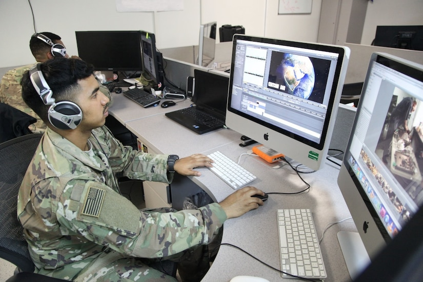 U.S. Army Spc. Jose edits a video on Feb. 9, 2017 at the Military Information Support Task Force-Central (MISTF-C) Headquarters on Al Udeid Air Base, Qatar. Jose is assigned to the Production Development Detachment within the MISTF-C. (U.S. Army photo by Staff Sgt. Brian)