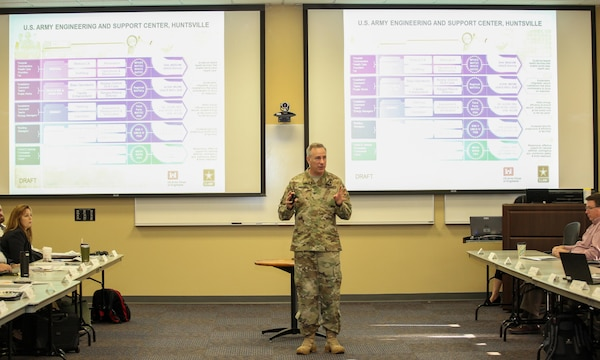 Col. John S. Hurley, Huntsville Center commander, unveiled his concept for a briefing chart that breaks down Huntsville Center's missions by portfolio at the start of day two of the Center's two-day strategic off-site March 23.