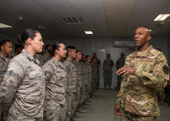 Chief Master Sergeant of the Air Force Kaleth O. Wright talks with Airmen from the 386th Air Expeditionary Wing force protection unit at an undisclosed location in Southwest Asia April 9, 2017. Wright and Gen. Stephen W. Wilson, Vice Chief of Staff of the U.S. Air Force, toured the base and visited various units after their all call. (U.S. Air Force photo/Staff Sgt. Andrew Park)