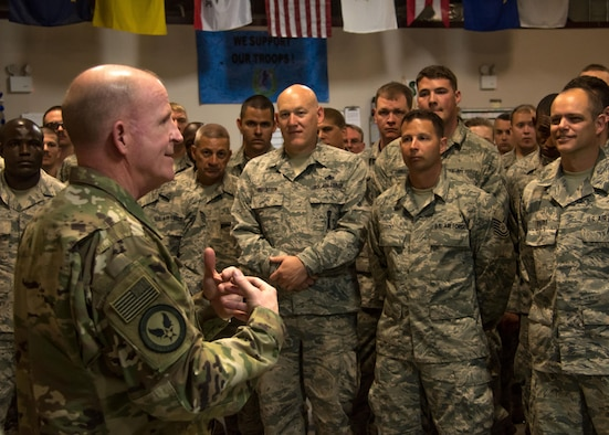 Gen. Stephen W. Wilson, Vice Chief of Staff of the U.S. Air Force, talks with Airmen from a 386th Air Expeditionary Wing aircraft maintenance unit at an undisclosed location in Southwest Asia April 9, 2017. After their all call, Wilson and Chief Master Sergeant of the Air Force Kaleth O. Wright visited several units around base to interact with Airmen in their workplace. (U.S. Air Force photo/Staff Sgt. Andrew Park)