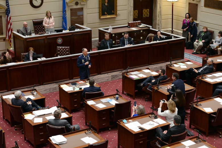 Lt. Gen. Lee K. Levy II, Air Force Sustainment Center Commander, addresses the Oklahoma State Senate March 30 at the capitol. He was at the capitol to accept proclamations honoring Tinker's 75 years of supporting the warfighter. The general talked about the importance of education and science, technology, engineering and mathematics, stressing the vital role it plays in the nation's security and national competitiveness. (Air Force photo by Kelly White)