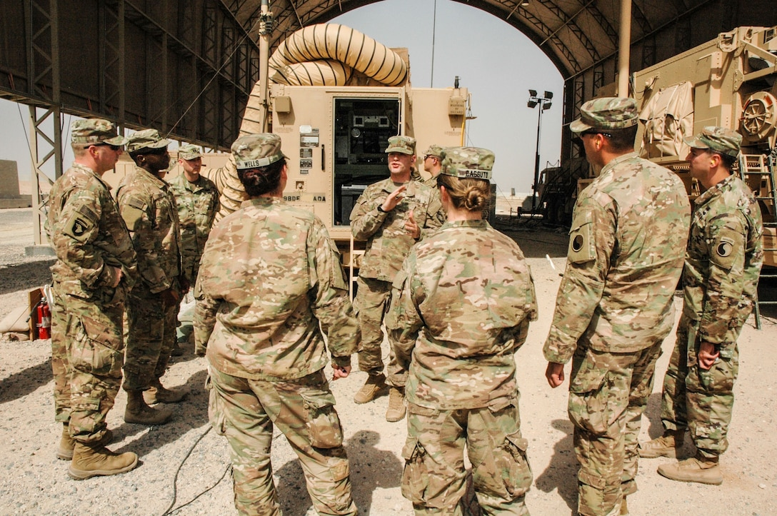 Soldiers of Task Force Spartan tour the Patriot Missile Air Defense site at Camp Buerhing, Kuwait April 8, 2017. Task Force Spartan personnel toured the site to obtain an on-the-ground assessment of Air Defense needs across the region. (Photo by Master Sergeant Sean McCollum, 29th Infantry Division Publc Affairs)