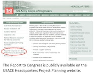 Report to Congress on Future Water Resources Development on Civil Works Planning Menu