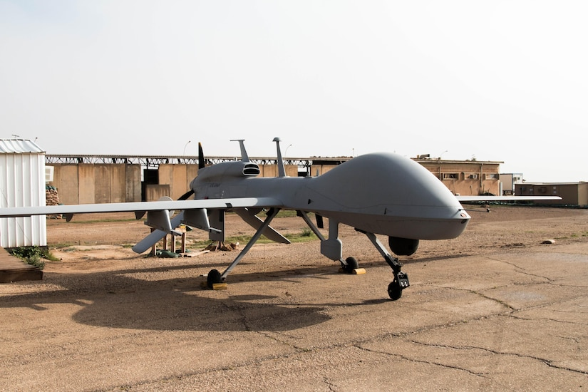 The MQ-1C Gray Eagle is a long-endurance platform able to fly for nearly 27 hours at a time at speeds of up to 150 knots while carrying up to four AGM-114 Hellfire missiles. U.S. Army Soldiers with Company D, 10th Aviation Regiment, 10th Mountain Division, deployed to Al Asad, Iraq, provide air fire support to the Combined Joint Task Force -- Operation Inherent Resolve, the global Coalition to defeat ISIS in Iraq and Syria. (Photo Credit: Spc. Derrik Tribbey)