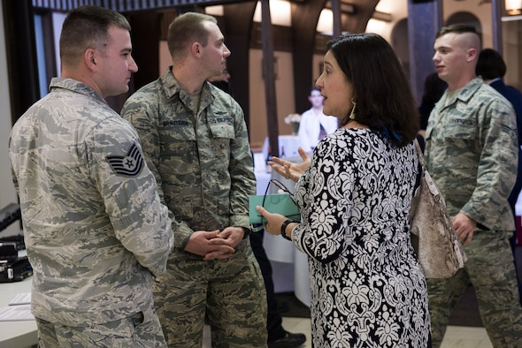 Members of the 5th Combat Communications Squadron speak to local community leaders during the 24th Air Force Community Open House April 6 on Port San Antonio, Texas. The 5th CCG is responsible for providing rapid deployment of communications and cyber capabilities to contested environments.