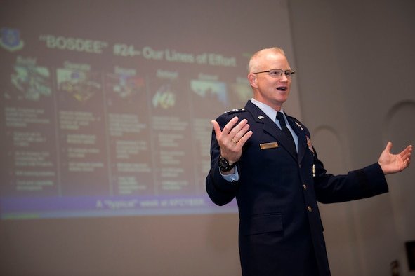 Maj. Gen. Chris Weggeman, 24th Air Force Commander, addresses a crowd during the 24th AF Community Open House April 6 on Port San Antonio, Texas. The theme of his address was the 24th AF and how it uses BOSDEE – Build, Operate, Secure, Defend, Extend, and Engage – to accomplish its mission of providing full-spectrum, global cyberspace capabilities to the Air Force, Joint Force, and the nation.