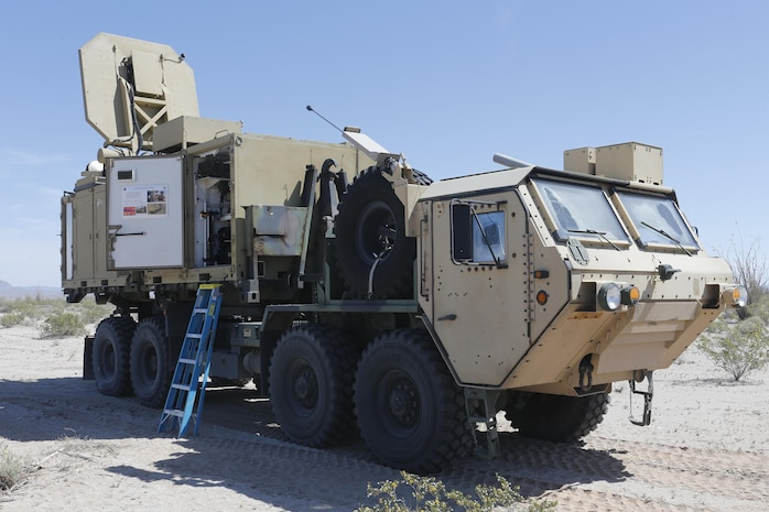 An Active Denial System from the Joint Non-Lethal Weapons Directorate is staged before conducting a counter personnel demo during Weapons and Tactics Instructor course (WTI) 2-17 at Site 50, Wellton, Ariz., April 4, 2017.  The Aviation Development, Tactics and Evaluation Department and Marine Operational Test and Evaluation Squadron One (VMX-1) Science and Technology Departments conducted the tactical demonstration to explore and expand existing capabilities. MAWTS-1 provides standardized advanced tactical training and certification of unit instructor qualifications to support Marine Aviation Training and Readiness and assist in developing and employing aviation weapons and tactics. (U.S. Marine Corps photo by Lance Cpl. Andrew M. Huff)