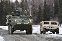"""Soldiers assigned to the 95th Chemical Company, """"Arctic Dragons"""", 17th Combat Sustainment Support Battalion, U.S. Army Alaska, wait for the order to execute a gunnery live-fire exercise with M1135 Stryker Nuclear Biological Chemical Reconnaissance Vehicles on Joint Base Elmendorf-Richardson, Alaska, April 5, 2017.  The gunnery tested Soldier's proficiency with identifying, engaging, and eliminating hostile targets while increasing combat effectiveness. The Styker NBCRV provides Nuclear, Biological, and Chemical detection and surveillance for battlefield visualization, and situational awareness to increase unit combat power.  The core of the NBCRV is its on-board integrated NBC sensor suite, and integrated meteorological system.  An NBC positive overpressure system minimizes cross-contamination of samples and detection instruments, provides crew protection, and allows extended operation at Mission Oriented Protective Posture."""