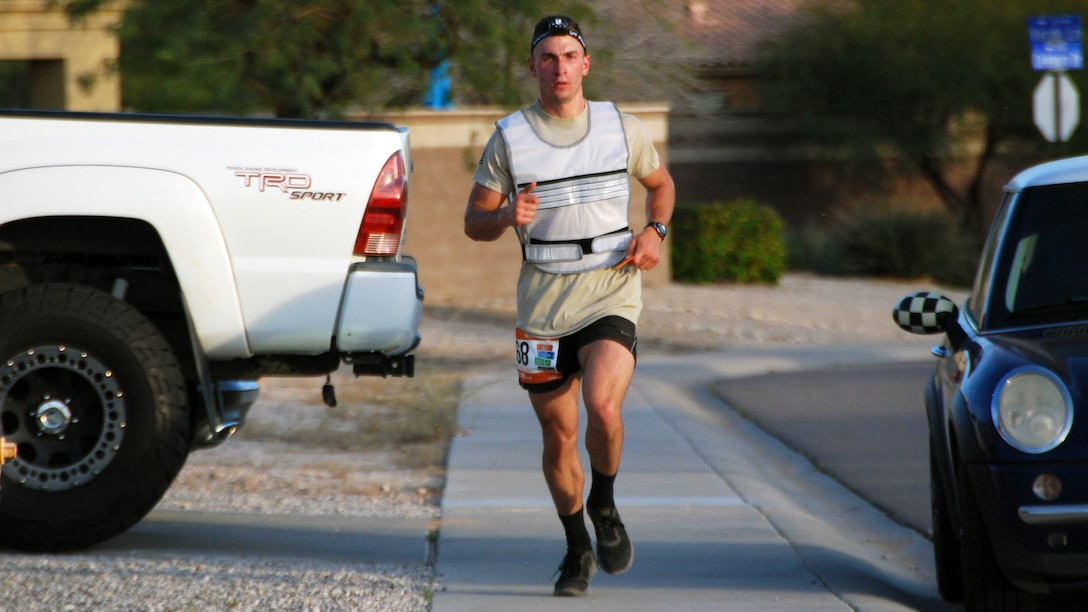 Senior Airman Zachary Benedetti, 58th Maintenance Squadron jet engine mechanic, runs one of his legs at the Rangar Del Sol relay race in Arizona March 11. The race went for 200 miles and more than 24 hours.