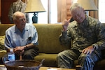 Chief of the National Guard General Frank Grass meets with Retired General Jack Vessey, former Chairman of the Joint Chiefs of Staff, during visit to Camp Ripley, August 10, 2015 (DOD)