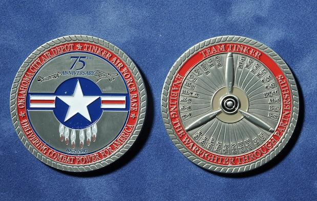 The front (left) and back of Tinker's 75th Anniversary coin. The front features the anniversary logo, while the back lists many of the aircraft that have gone through depot maintenance at Tinker, starting with the BT-13 and working around the fan blades to the B-1.