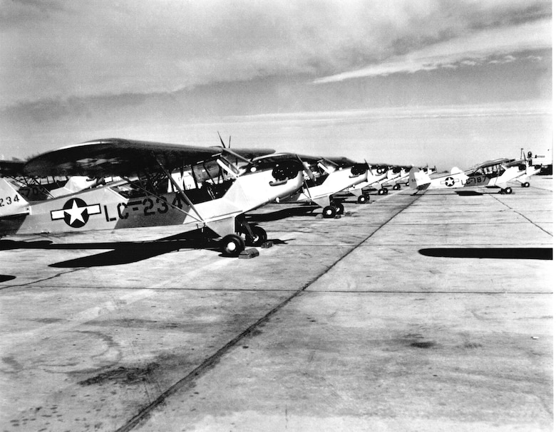 Between January 1947 and June 1953, 241 L-4s were processed through the maintenance lines in Oklahoma City at Tinker. (Photo courtesy of Tinker History Office)