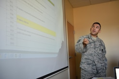 Technical Sergeant Amed Poveda, USAF, Joint Task Force-Bravo Legal Office Non-Commissioned Officer in Charge, explains the Program of Instruction to Honduran Senior Enlisted Advisors on Soto Cano Air Base, March 24, 2017. The United States Army Basic Instructor Course Program of Instruction was used as the model for this new program and has been adapted to fit the specific needs of the host nation.