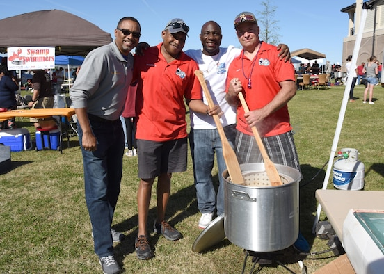 "Keesler personnel pose for a photo during the 5th Annual Bay Breeze Crawfish Cook-Off at the Bay Breeze Event Center April 7, 2017, on Keesler Air Force Base, Miss. The ""Keesler Chiefs"" won first place overall and a free entry into the 25th Annual Mississippi Coast Coliseum Crawfish Festival Cook-Off. (U.S. Air Force photo by Kemberly Groue)"