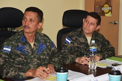 Sergeant Major Jorge Bonilla (left), Senior Enlisted Advisor to the Honduran Air Force Chief of Staff and Command Sergeant Mayor Carlos Valle (right), Honduran Army Command Sergeant Major, participate in a workshop on Soto Cano Air Base, March 23, 2017.  The workshop is part of a joint venture between Honduran and U.S. SEA to design a Program of Instruction to professionalize Honduran forces.
