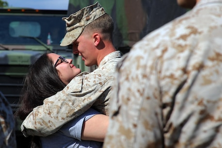 MARINE CORPS AIR STATION CHERRY POINT, N.C.—Lance Cpl. Adam Slama says goodbye to his wife before leaving for a deployment from Marine Corps Air Station Cherry Point, N.C., March 29, 2017. The mission of Marine Tactical Electronic Warfare Squadron 3, Marine Aircraft Group 14, 2nd Marine Aircraft Wing, during the deployment will be to conduct airborne electronic warfare in support of operations. This includes the EA-6B Prowler's unique ability to suppress enemy radar and surface-to-air missiles utilizing electronic jamming and high-speed anti-radiation missiles, as well as collect tactical intelligence in a passive electronic support role. Slama is an electrician with Marine Wing Support Squadron 271, MAG-14, 2nd MAW. (U.S. Marine Corps photo by Cpl. Mackenzie Gibson/Released)