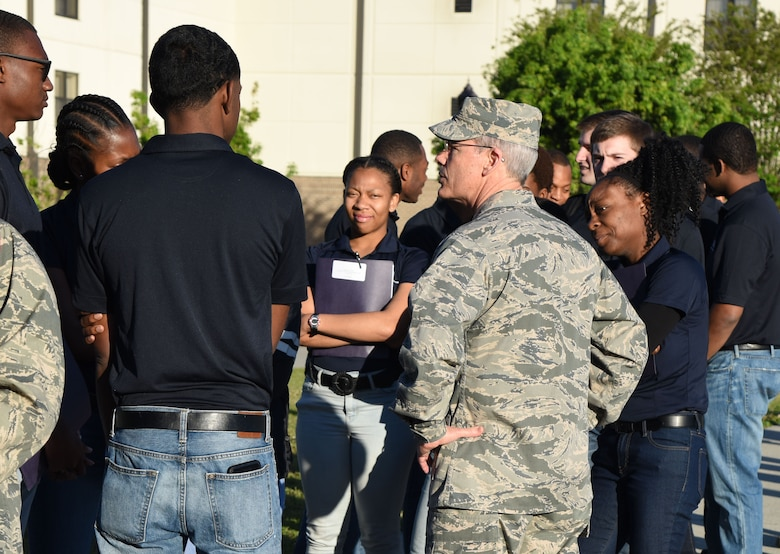 Maj. Gen. Robert LaBrutta, 2nd Air Force commander, visits with Air Force ROTC cadets during Pathways to Blue at the Azalea Dining Facility April 7, 2017, on Keesler Air Force Base, Miss. Pathways to Blue, a diversity and inclusion outreach event hosted by 2nd Air Force with the support of the 81st Training Wing and the 403rd Wing, provided 178 cadets who traveled here from seven detachments a chance to interact with officers from 36 different specialties from across the Air Force.(U.S. Air Force photo by Kemberly Groue)