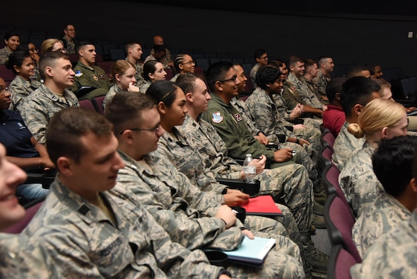 Air Force ROTC cadets attend welcoming briefs in the Welch Theater during Pathways to Blue April 7, 2017, on Keesler Air Force Base, Miss. Pathways to Blue, an annual event hosted by 2nd Air Force with the support of the 81st Training Wing and the 403rd Wing allowed cadets to receive hands-on briefings with technical and flying operations and an orientation flight in support of the Air Force's Diversity Strategic Roadmap program. (U.S. Air Force photo by Kemberly Groue)