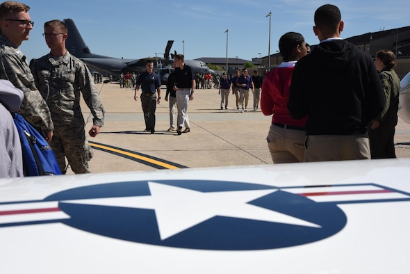 Air Force ROTC cadets view static displays during Pathways to Blue April 7, 2017, on Keesler Air Force Base, Miss. Pathways to Blue, an annual event hosted by 2nd Air Force with the support of the 81st Training Wing and the 403rd Wing, allowed cadets to receive hands-on briefings with technical and flying operations and an orientation flight in support of the Air Force's Diversity Strategic Roadmap program. (U.S. Air Force photo by Kemberly Groue)