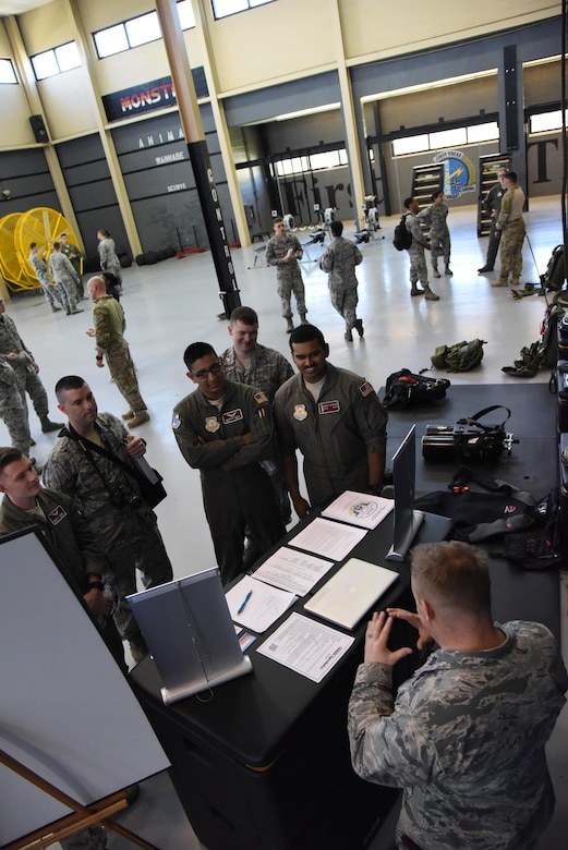 Air Force ROTC cadets are briefed on the Battlefield Airmen mission in Matero Hall during Pathways to Blue April 7, 2017, on Keesler Air Force Base, Miss. Pathways to Blue, a diversity and inclusion outreach event hosted by 2nd Air Force with the support of the 81st Training Wing and the 403rd Wing, provided 178 cadets who traveled here from seven detachments a chance to interact with officers from 36 different specialties from across the Air Force. (U.S. Air Force photo by Kemberly Groue)