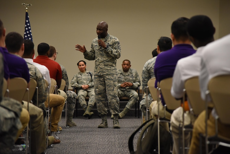 Chief Master Sgt. Vegas Clark, 81st Training Wing command chief, speaks to Air Force ROTC cadets at a senior enlisted panel during Pathways to Blue April 8, 2017, on Keesler Air Force Base, Miss. Pathways to Blue is a diversity and inclusion outreach event hosted by 2nd Air Force with the support of the 81st Training Wing and the 403rd Wing. The event provided the 178 cadets who traveled here from seven detachments a chance to interact with officers from 36 different specialties from across the Air Force. (U.S. Air Force photo by Kemberly Groue)