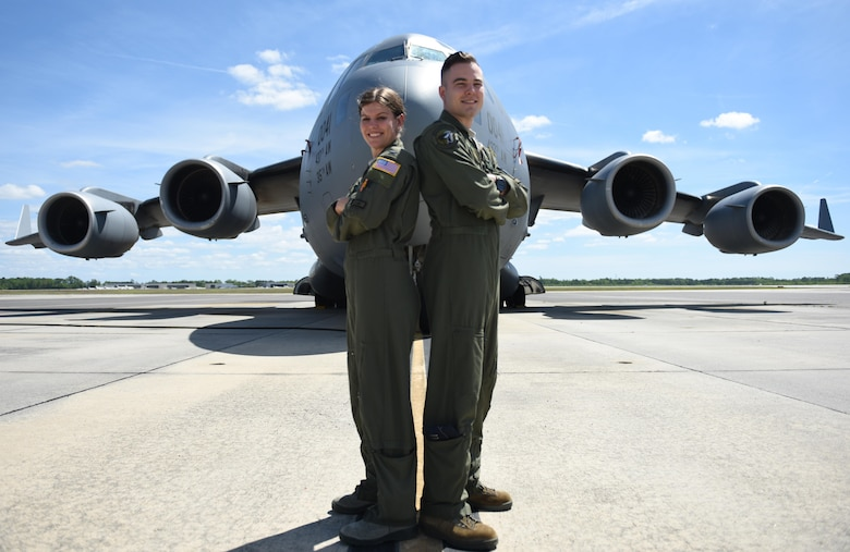1st Lt. Kristina Whiteman, 14th Airlift Squadron, 437th Airlift Wing, liaison officer and her brother Capt. Gary Whiteman, 14th AS C-Flight assistant flight commander, are C-17 Globemaster III pilots at Joint Base Charleston. The Whitemans are from Scottsdale, Arizona and are graduates of the U.S. Air Force Academy.