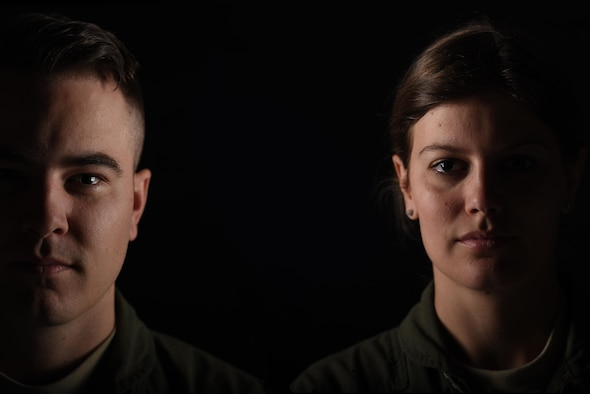 Capt. Gary Whiteman, 14th Airlift Squadron C-Flight assistant flight commander, 437th Airlift Wing, and his sister 1st Lt. Kristina Whiteman, 14th AS liaison officer, pose for a portrait at Joint Base Charleston, South Carolina April 10, 2017. The Whiteman siblings are both U.S. Air Force Academy graduates and C-17 Globemaster III pilots here.