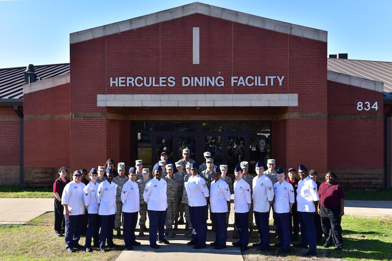 Hercules Dining Facility staff won the 2017 U.S. Air Force Hennessy award against five Major Command-nominated bases March 24, 2017, at Little Rock Air Force Base, Ark. The John L. Hennessy trophy is an annual award presented to the best food service program in the U.S. Air Force across the globe. The Hennessy award is based on the entire scope of an installation's food service program. (U.S. Air Force photo by Staff Sgt. Jeremy McGuffin)