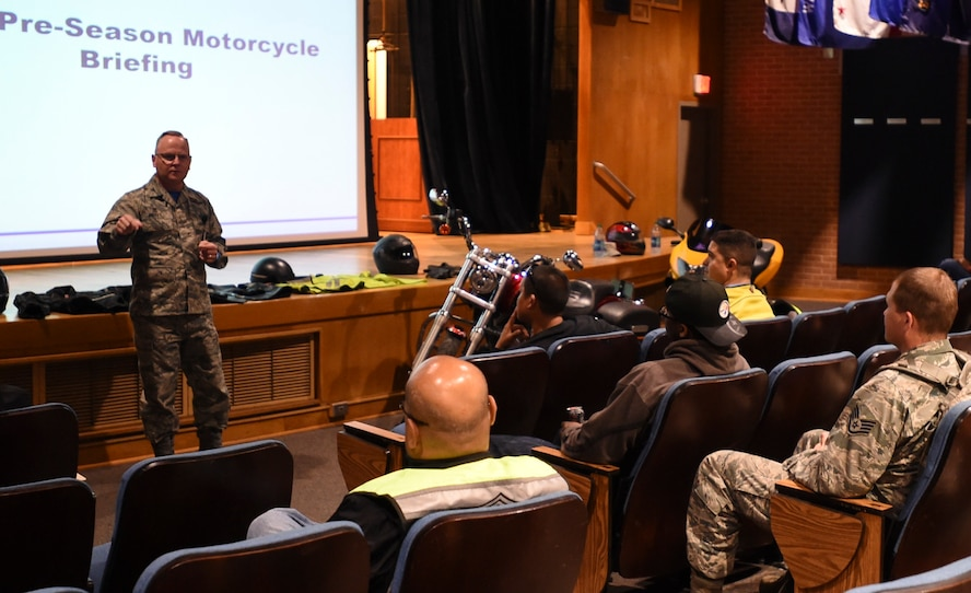 Col. Kyle Pelkey, 59th Dental Group commander, shares his experiences riding motorcycles during the 6th Annual All Motorcycle Riders call April 7 at Wilford Hall Ambulatory Surgical Center, Joint Base San Antonio-Lackland, Texas. The colonel said wearing the correct personal protective gear saves lives. (U.S. Air Force photo/Staff Sgt. Kevin Iinuma)