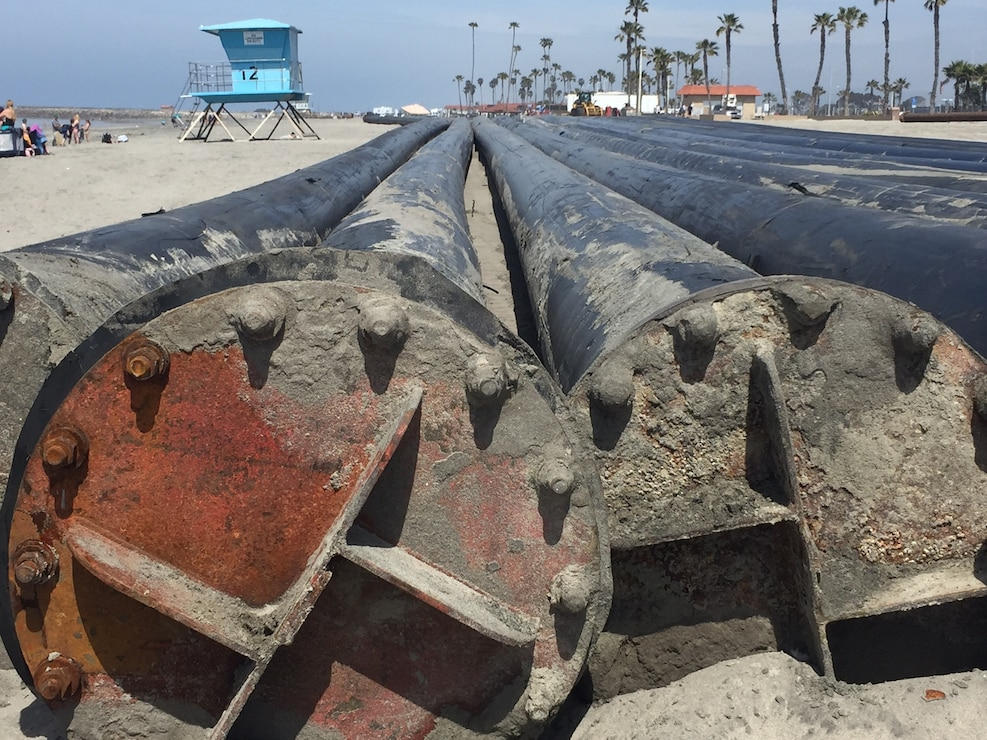 This close-up view of the sections of high-density polyethylene, or HDPE, pipe shows the flanges Manson will use to connect the 500-foot sections.