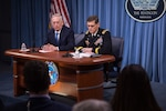 Defense Secretary Jim Mattis and Army Gen. Joseph Votel, commander of U.S. Central Command, brief reporters at the Pentagon, April 11, 2017. DoD photo by Air Force Staff Sgt. Jette Carr
