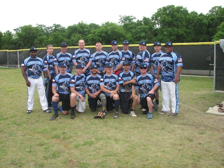 The Sheppard Men's Varsity Softball Team opened its season April 8, 2017, at Joint Base San Antonio, Texas. Sheppard currently has 16 players listed on the roster, 12 of which are active duty. Two retirees and two contractors complete the roster. (U.S. Air Force courtesy photo)