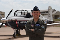 Former film producer, now 2nd Lt. Aaron Doyle, finds new success as a student pilot in the Euro-NATO Joint Jet Pilot Training program at Sheppard Air Force Base, Texas, April 10, 2017. Student pilots with diverse backgrounds help our Air Force adapt to any challenge. (U.S. Air Force photo by 2nd Lt. Brittany Curry)