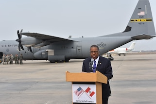 Brian Nichols, U.S. Embassy Ambassador to Peru, discusses the current state of affairs and organizations aiding in the flood relief operations during the press conference April 6, 2017, at an airfield in Lima, Peru. Two C-130Js from Little Rock Air Force Base, Ark., were launched at the request of the Government of Peru to assist humanitarian disaster operations. (U.S. Air Force photo by Staff Sgt. Jael Laborn)
