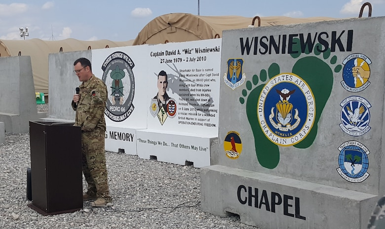 "U.S. service members hold a Chapel Dedication Ceremony in honor of Capt. David A. ""Wiz"" Wisniewski, March 28, 2017, at Diyarbakir Air Base, Turkey. Wisniewski, an HH-60 Pave Hawk pilot, along with his crew, were killed in action while performing a rescue mission for a wounded British Marine in support of Operation Enduring Freedom. (Courtesy photo)"