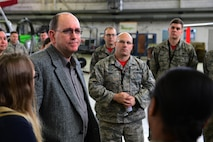 Matt Donovan, U.S. Senate Armed Services Committee major policy director, and his team visit the 52nd Maintenance Squadron to listen to their concerns about the challenges in their unit and the maintainer career field at large, Spangdahlem Air Base, Germany, March 17, 2017. The challenges specified by the Airmen include low manning at the journeyman skill level, extra duty tasks taking Airmen out of their regular responsibilities and the strain of shifts longer than 12 hours. (U.S. Air Force photo by Senior Airman Joshua R. M. Dewberry)