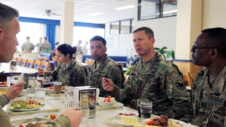 Maj. Gen. David Conboy, United States Army Reserve Command deputy commanding general - operations, speaks with company-grade officers from the 7th Mission Support Command, April 8 at the Clock Tower Dining Facility on Kleber Kaserne. Conboy was visiting April 8-9 in order to be briefed on the MSC's readiness.