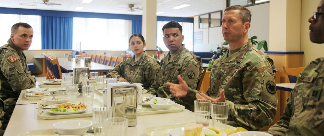 Maj. Gen. David Conboy, Maj. Gen. David Conboy, United States Army Reserve Command deputy commanding general - operations, speaks with company-grade officers from the 7th Mission Support Command, April 8 at the Clock Tower Dining Facility on Kleber Kaserne. Conboy was visiting April 8-9 in order to be briefed on the MSC's readiness.
