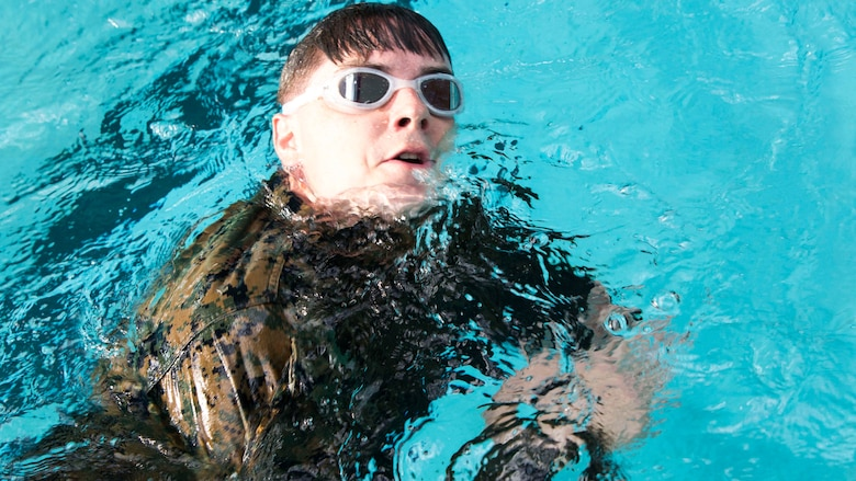 Cpl. Christophe D. Black conducts a distance swim during a scout sniper screener at Marine Corps Base Camp Lejeune, N.C., April 3, 2017. The screener tested the Marines' ability to accomplish basic infantry tasks to find the most qualified candidates for the Scout Sniper Basic Course. Black is a team leader with 2nd Battalion, 8th Marine Regiment, 2nd Marine Division.