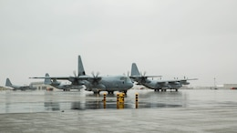 A U.S. Marine Corps KC-130J Hercules with Marine Aerial Refueler Transport Squadron 152, taxis to the flight line during aviation delivered ground refueling training with Marine Fighter Attack Squadron 121 at Marine Corps Air Station Iwakuni, Japan, April 11, 2017. The ADGR marked the first evolution of this form of refueling for VMFA-121's F-35B Lightning II aircraft, and it increases the squadron's ability to refuel by C-130 aircraft in austere locations when other resources may not be available.