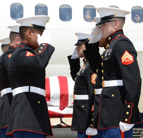 Marine Corps Logistics Base Albany Marines conduct plane-side honors for fallen Marine Pfc. James O. Whitehurst at the Tallahassee International Airport in Tallahassee, Fla., April 11. Whitehurst was killed in action Nov. 20, 1943, at the battle of Tarawa during World War II.