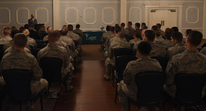 Members of Team Seymour attend a Sexual Assault Prevention and Response seminar, April 3, 2017, at Seymour Johnson Air Force Base, North Carolina. April is recognized as Sexual Assault Awareness and Prevention Month. (U.S. Air Force photo by Airman 1st Class Kenneth Boyton)