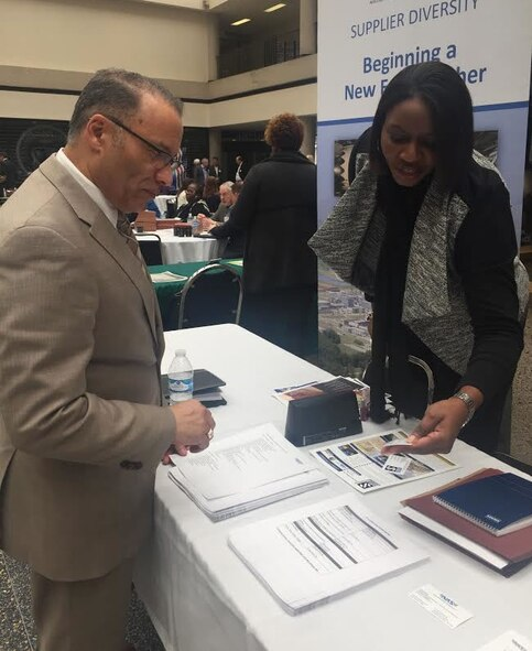 Cindy Dixon, pictured right, a small business advocate at AEDC, speaks with a vendor at the 6th Annual Small Business Industry Day March 15 at Tennessee State University. Dixon represented one of more than 200 businesses to participate in the event. The industry day was organized by Roy Rossignol, chief of Small Business with the U.S. Army Corps of Engineers Nashville District, and this year's theme was Service Disabled Veteran-Owned. (Courtesy photo)