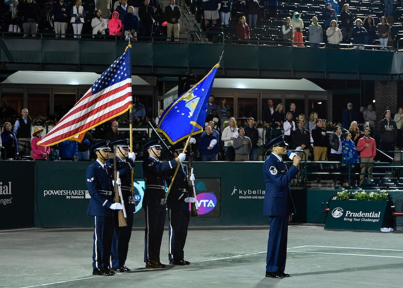 Members of the Joint Base Charleston Honor Guard post colors during military appreciation night at the Volvo Car Stadium, April 6, 2017. U.S. Navy Capt. Elizabeth Maley, Naval health Clinic Charleston commander, U.S. Air Force Master Sgt. Toby Housey, 315th Airlift Wing Equal Opportunity superintendent, and the Joint Base Charleston Honor Guard represented JB Charleston with the coin toss, singing of the national anthem and posting of colors.
