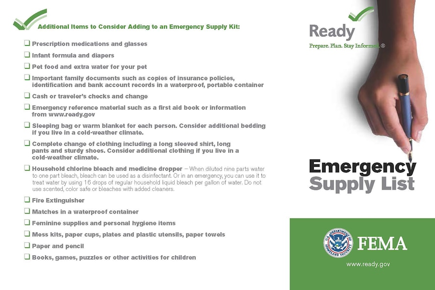 Checklists are one key to being ready for any natural disaster. This checklist provides some additional information of things to think about when setting up a 72-hour ready kit. For more information on what you can do to be prepared, visit http://www.beready.af.mil or http://www.ready.gov. (Courtesy graphic)