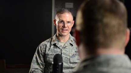 Chaplain (Maj.) Jim Bridgham, wing chaplain, 363rd Intelligence, Surveillance and Reconnaissance Wing, Joint Base Langley- Eustis, discusses resilience during a podcast.