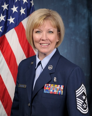 Official photo of Chief Master Sgt. Lisa Buckman