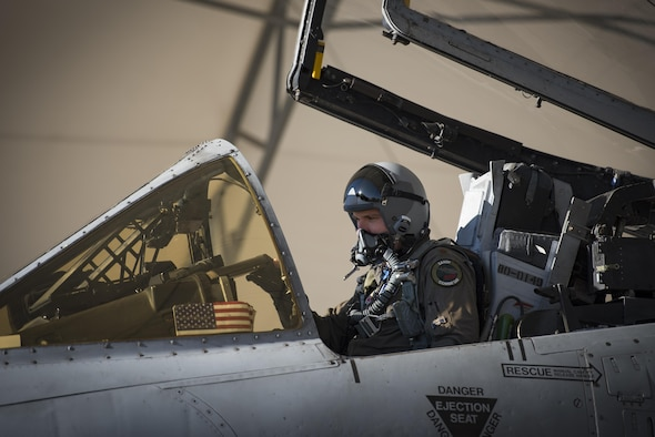 Maj. Matthew Shelly, 23 Wing director of inspections, prepares for flight, April 8, 2017, at Moody Air Force Base, Ga. The brothers flew in formation together for the first time, fulfilling their childhood dream while also contributing to total force integration, the use of multiple components of the Air Force, which can include active duty, reserve or guard. (U.S. Air Force photo by Airman 1st Class Lauren M. Sprunk)