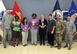 "Senior leaders pose with ""Ladies DSW 2.0,"" the first-place team, at the 2017 Winter Warrior Project awards ceremony, April 12, 2017, Fort Belvoir, Virginia. From left: DLA Director Air Force Lt. Gen. Andy Busch; Anita Elum-Mason; Rowena Estrada; Ahawana Williams; Christina Darensbourg; team coach Demetrios Danis; Army Command Sgt. Major Charles Tobin, DLA senior enlisted leader; Air Force Chief Master Sgt. Timothy Horn, DTRA senior enlisted leader."